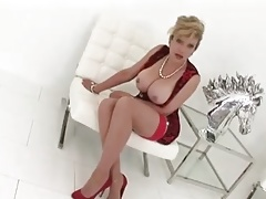 MILF In Crimson Dress And High-heeled slippers