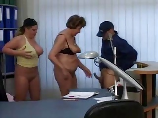 Granny and Milf Secretaries fuck the superintendence beggar
