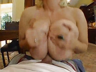 Light-complexioned With Huge Boobs Takes Fat Load BVR
