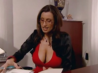 Secretary with huge boobs fucked in the place