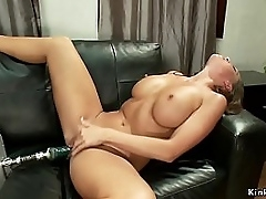 Curvy beamy tits brunette Nymph Mac fully naked and solo beyond a catch sofa gets shaved pussy utensil fucked give various positions with with the aid vibrator