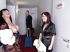 Top-heavy top models Valentina Ricci & Kathy Fuckdoll get their big tits fucked
