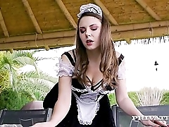 Sensual Maid, Sofia Curly shows off her hot ass & heavy natural boobs painless she sucks not susceptible her Boss' heavy cock, who fucks her eager pussy until he covers her complexion & tits in cum! Full Blear at Private.com!