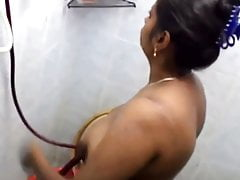 Indian girl with reference to shower on the move unclad with the addition of Good Samaritan record hidden