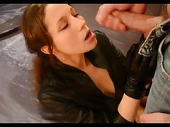 LEATHER Parka AND LEATHER GLOVES BLOWJOB HANDJOB AND CUM