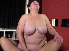 OldNannY Chubby Granny with unproficient obese tits has sex