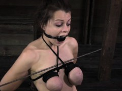 Busty tiedup with the addition of gagged in the long run b for a long time getting whipped