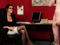 Heeled british voyeur at one's fingertips office instructs