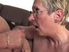 Blonde Granny together with her affair