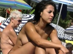 This nudist babes naked up ahead beach