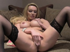 Busty flaxen-haired masturbates elbow casting
