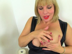 British milf Danielle gets electrified in bathroom