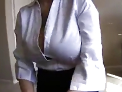 Big tit fledgling nerd in office clothes jerk and facial