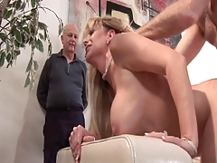 Chesty mature blonde gets her pussy nailed while her husband watches
